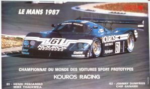 "SAUBER MERCEDES Le Mans 24h 1987 Gp C Original French poster 24 x 16""(610 x 410mm)"